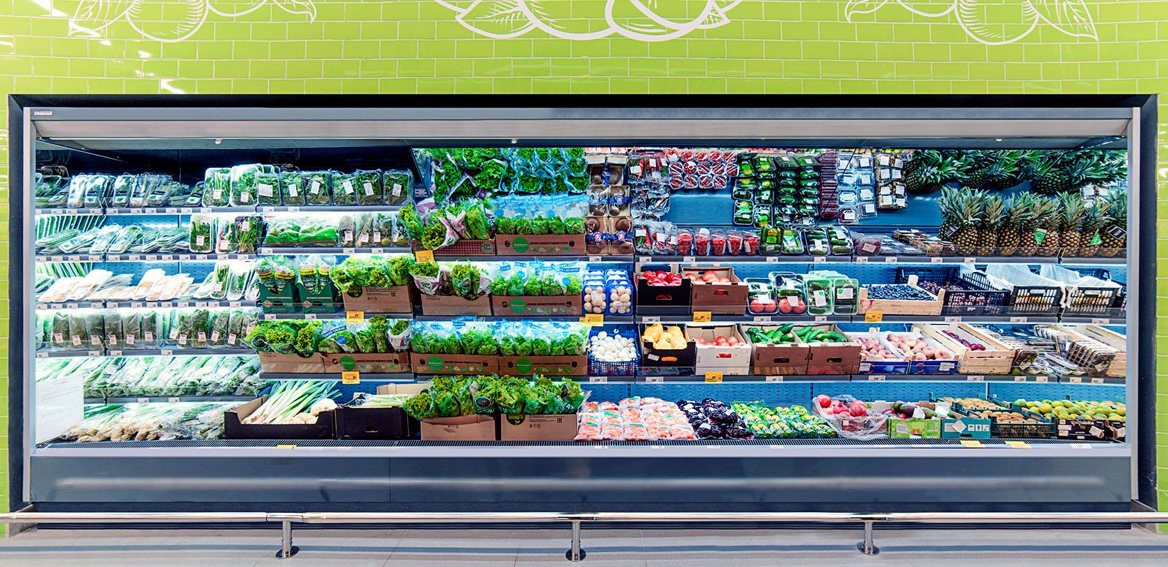 Холодильные горки в супермаркете Зеленый перекресток Ярославль