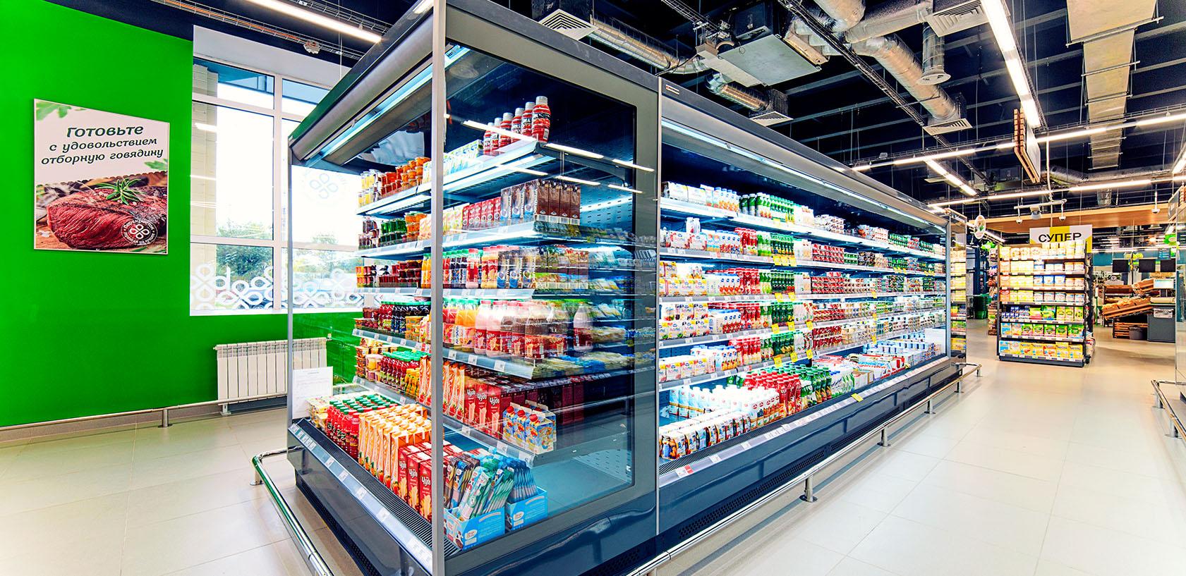 Холодильные витрины в магазине Зеленый перекресток Ярославль