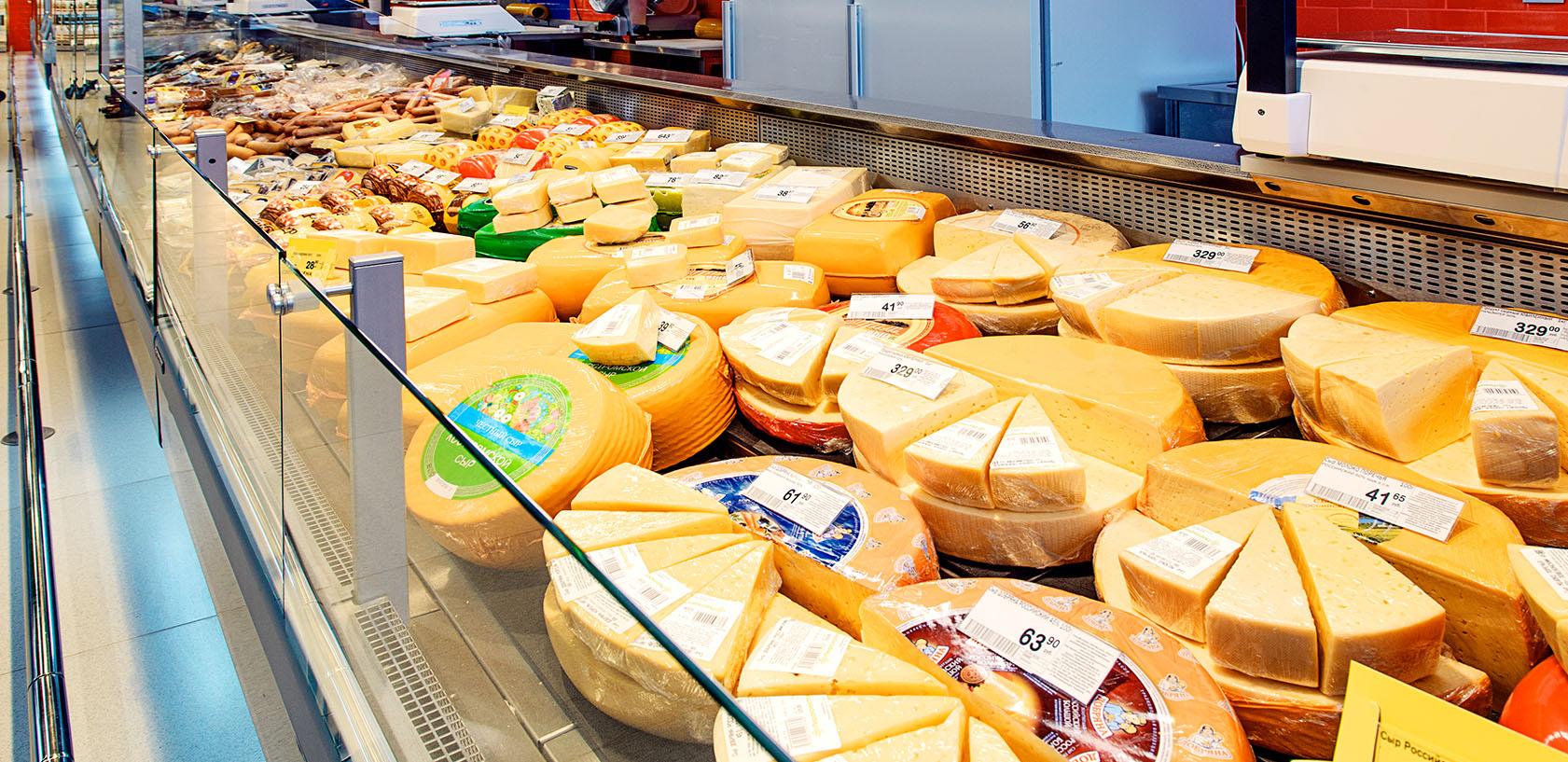 Холодильные витрины в супермаркете Зеленый перекресток Ярославль