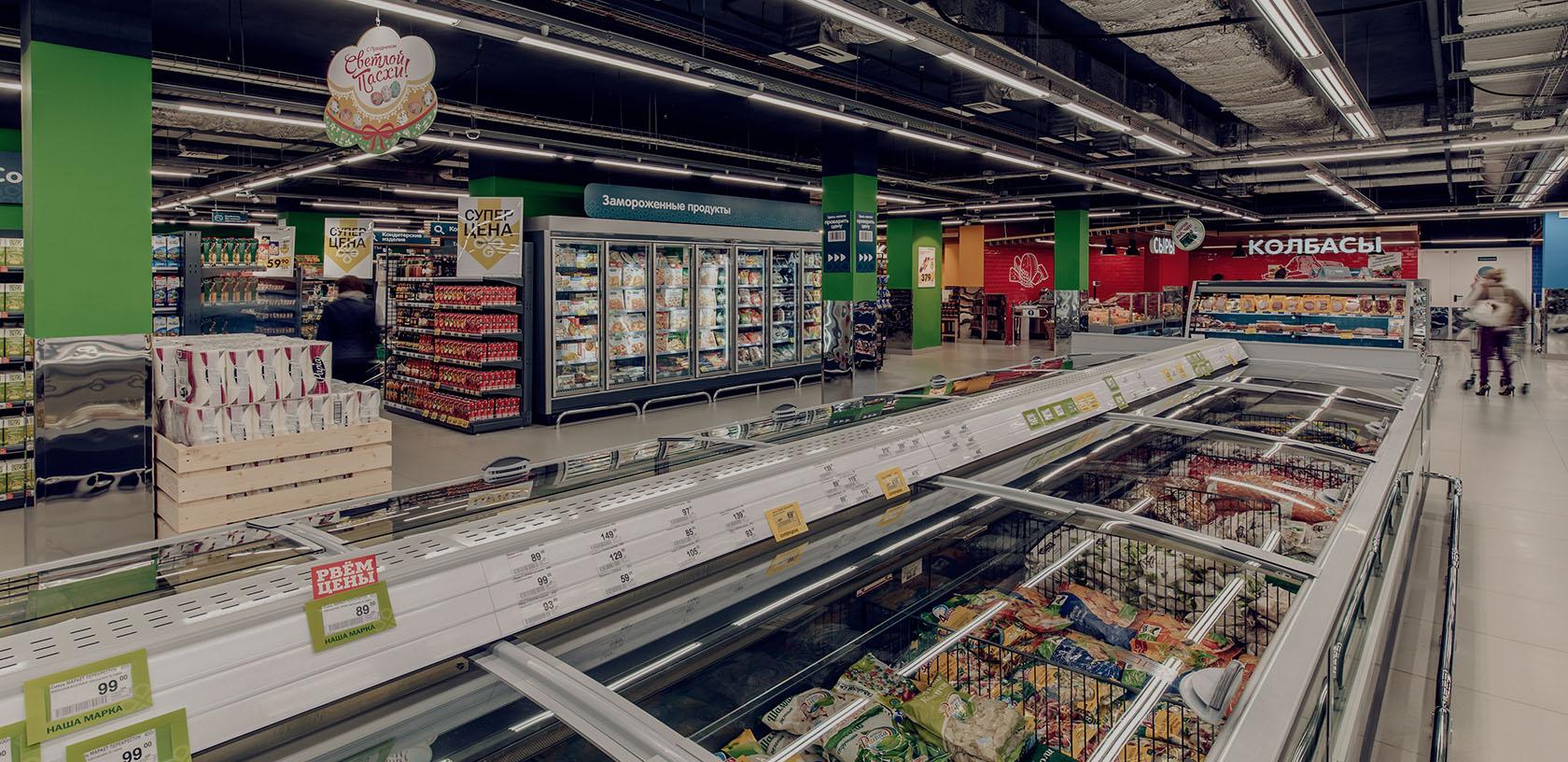 Холодильные бонеты в супермаркете перекресток, Владимир