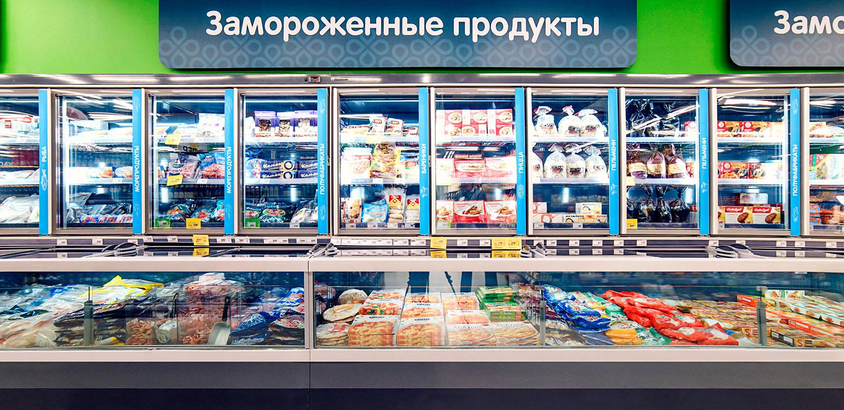 Морозильные бонеты и шкафы в супермаркете Зеленый перекресток Ярославль